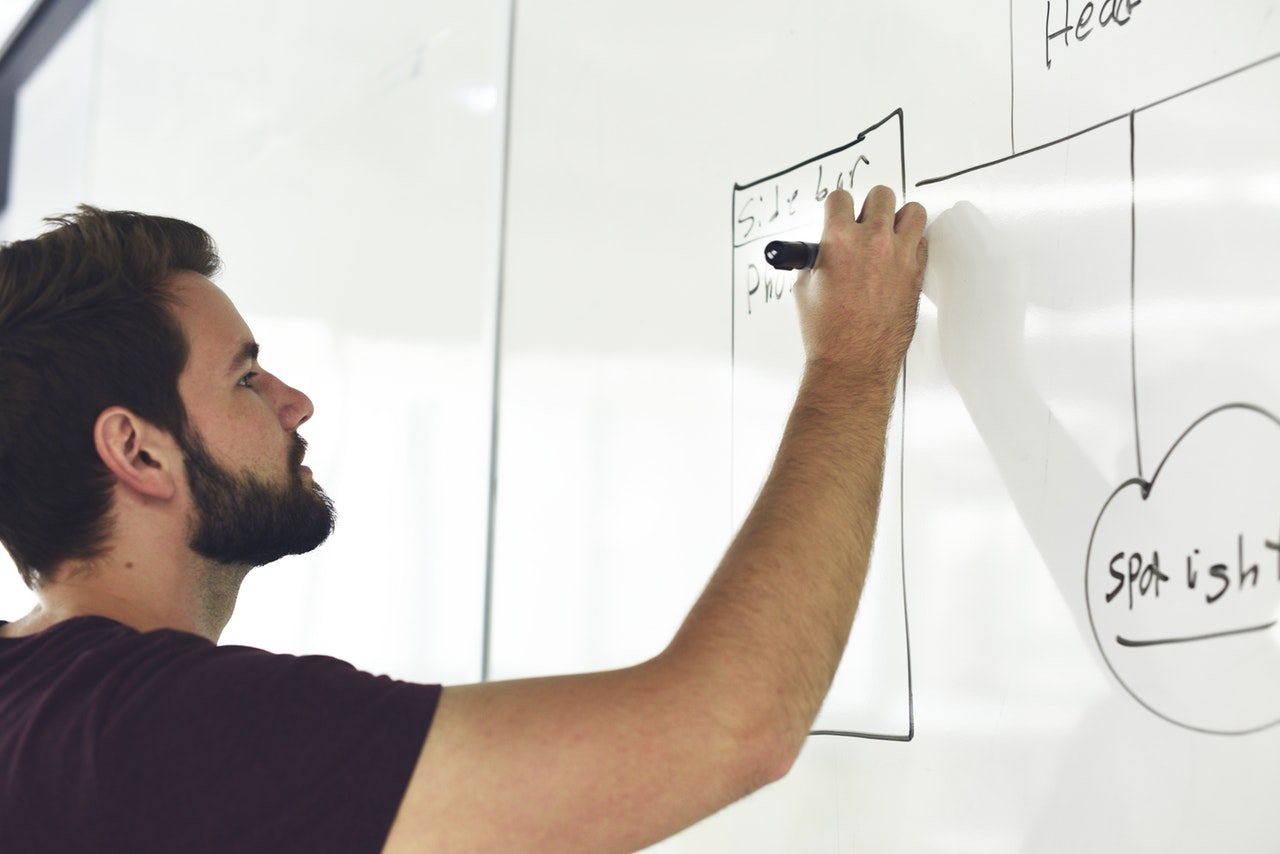 Man planning competitive advantage on whiteboard