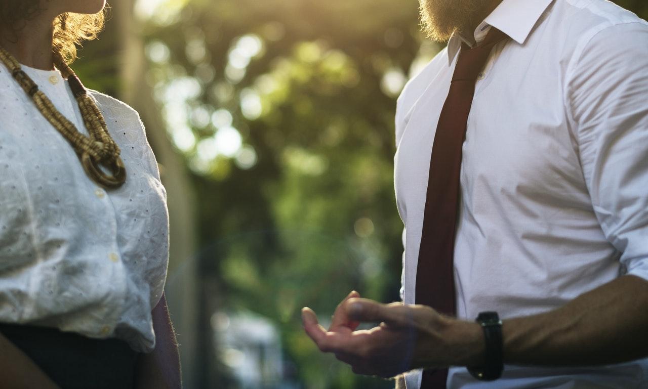 Effective leader: Two people talking