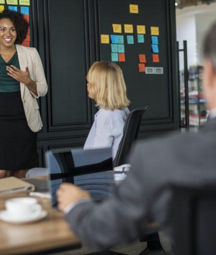 Woman talking at meeting